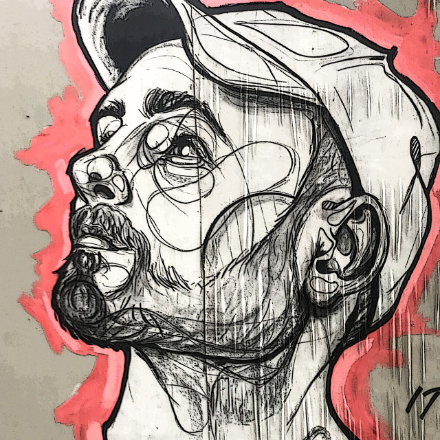 """Bearded man street art portrait"" stock image"