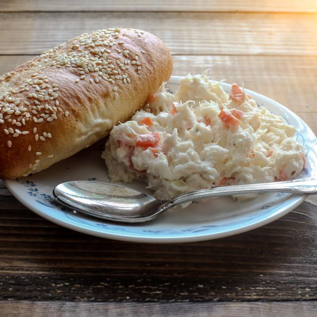 """""""Traditional Slovak fresh seafood salad or ''treska'' from alaska"""" stock image"""