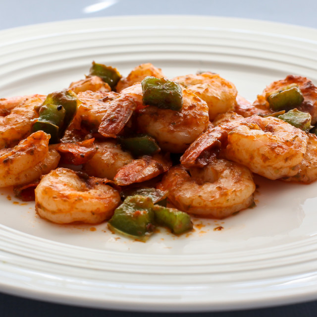 """""""Shrimps with green belly peppers"""" stock image"""