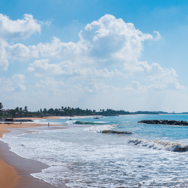 """Tropical beach in south Sri Lanka panoramic view"" stock image"