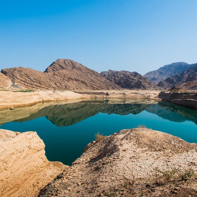 """""""Wadi Beeh Dam in Jebel Jais mountain in Ras Al Khaimah emirate o"""" stock image"""