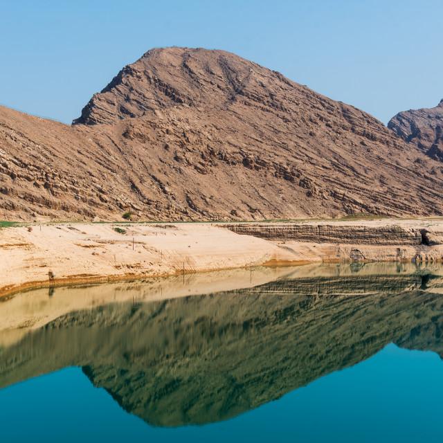 """""""Wadi Beeh Dam in Jebel Jais mountain in Ras Al Khaimah emirate of UAE"""" stock image"""