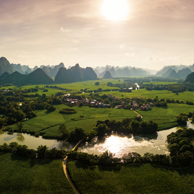 """""""Karst landscape and agricultural fields in Guangxi province at s"""" stock image"""