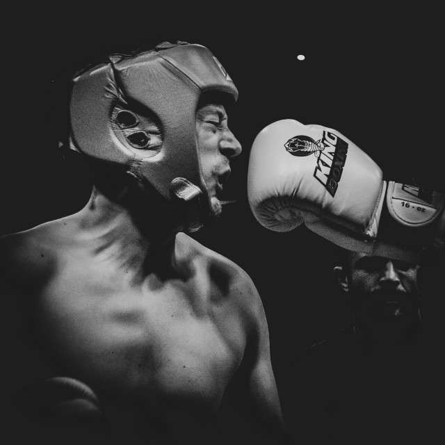 """""""Boxing shot just before the hurt"""" stock image"""