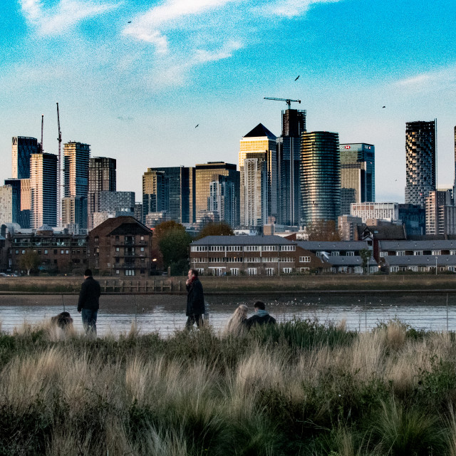 """""""Shot of Canary Wharf taken from the south bank"""" stock image"""