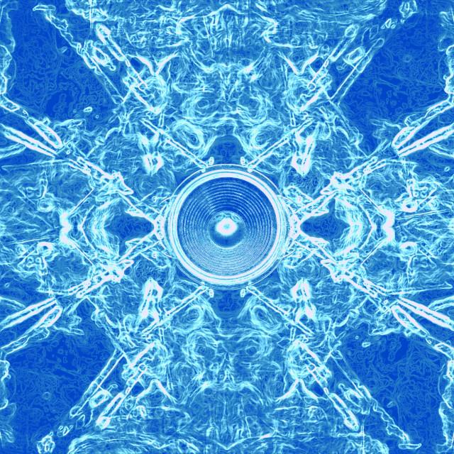 """""""Blue swirling music speaker"""" stock image"""