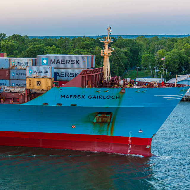 """""""Bow of Maersk Freighter on River"""" stock image"""