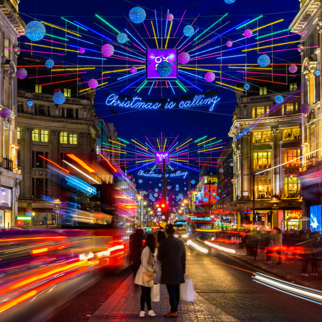 """Christmas Is Calling - Oxford Street, London, UK (I)"" stock image"