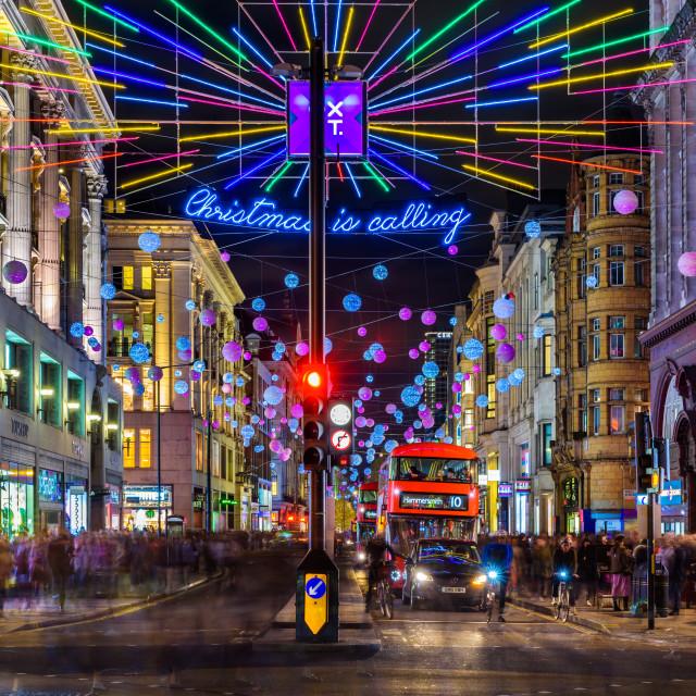 """""""Christmas Is Calling - Oxford Street, London, UK (II)"""" stock image"""