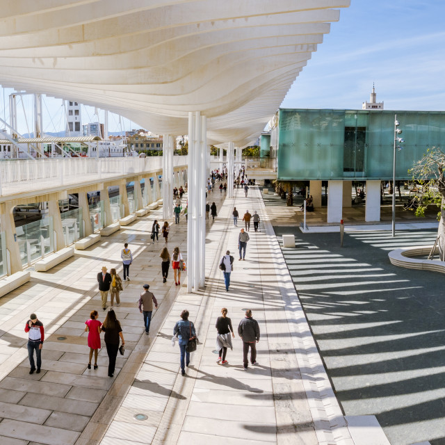 """Waterfront promenade in Port Malaga of Malaga with Alborania Aula del mar, Maritime Museum, Andalucia, Spain."" stock image"