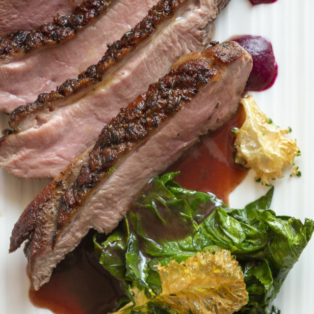 """Duck Breast dish"" stock image"