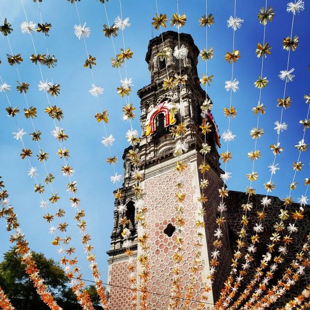 """Decorations adorn the Monumento a Francisco Zarco, Mexico City"" stock image"