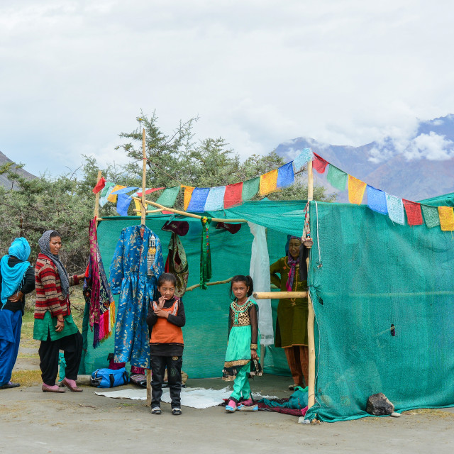 """""""Tibetan people with a shack in Ladakh, India"""" stock image"""