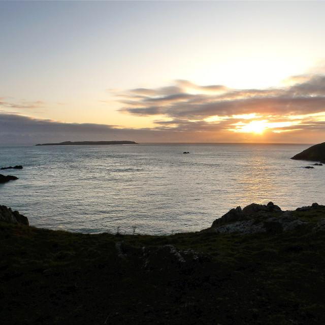 """""""Skokholm Island at sunset."""" stock image"""