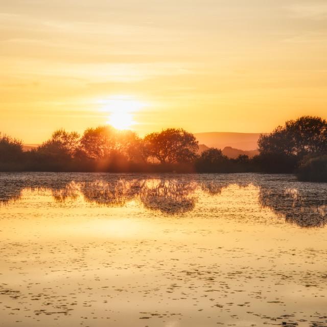 """Lake sunset"" stock image"