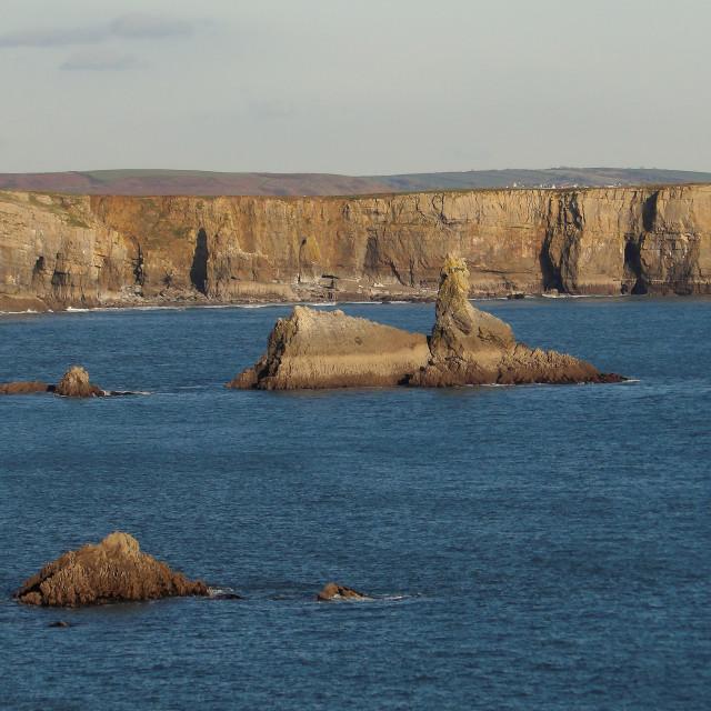 """Church Rock, Pembrokeshire in December"" stock image"
