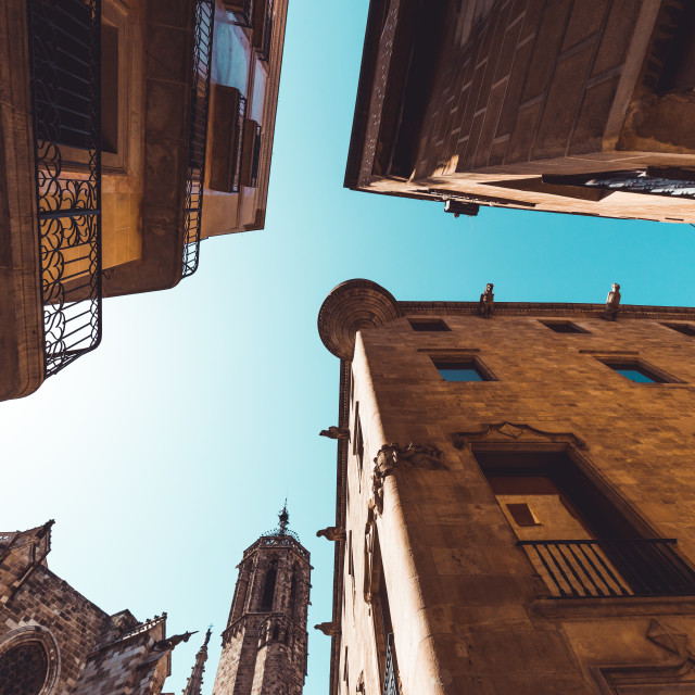 """Buildings in Gothic Quarter in Barcelona Spain on hot summer day"" stock image"