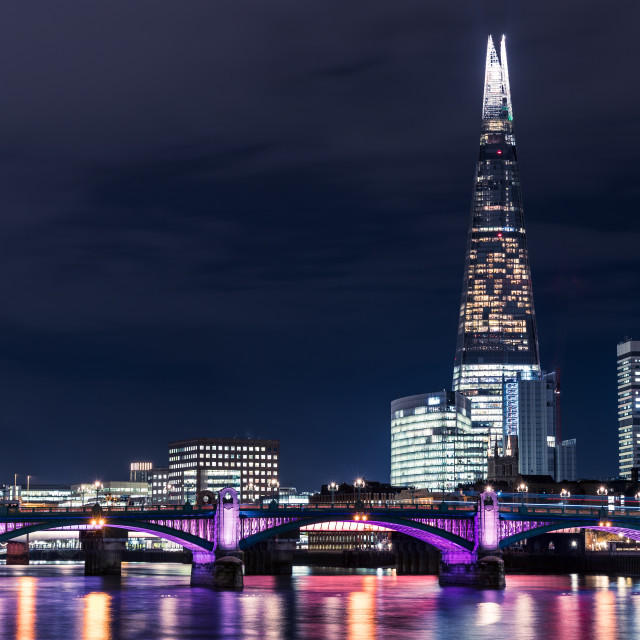 """Modern London city skyline on River Thames with shard building"" stock image"