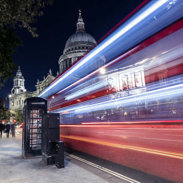 """Red bus city traffic at night, St Pauls Cathedral, London"" stock image"
