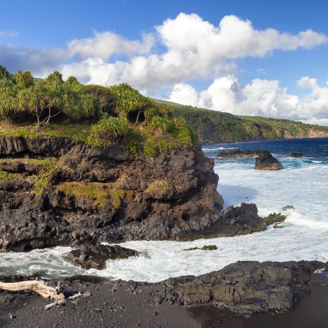 """""""Black sand beack on Maui"""" stock image"""