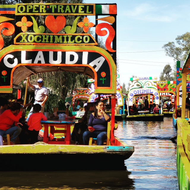 """""""Trajineras jam the canals at Xochimilco, Mexico City"""" stock image"""