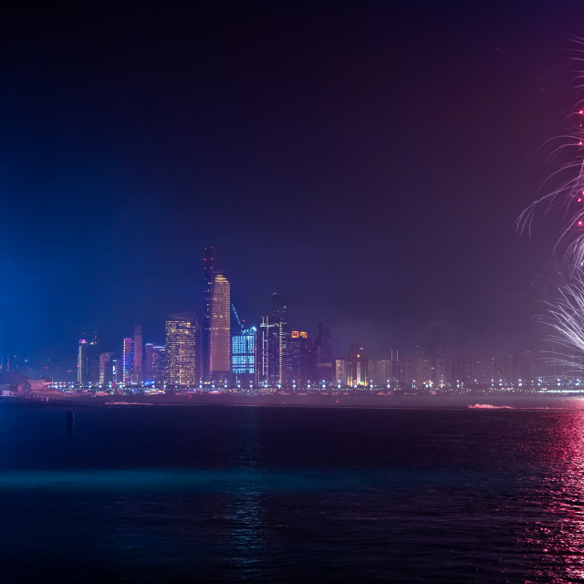 """""""Fireworks over Abu Dhabi cityscape for the UAE national day cele"""" stock image"""