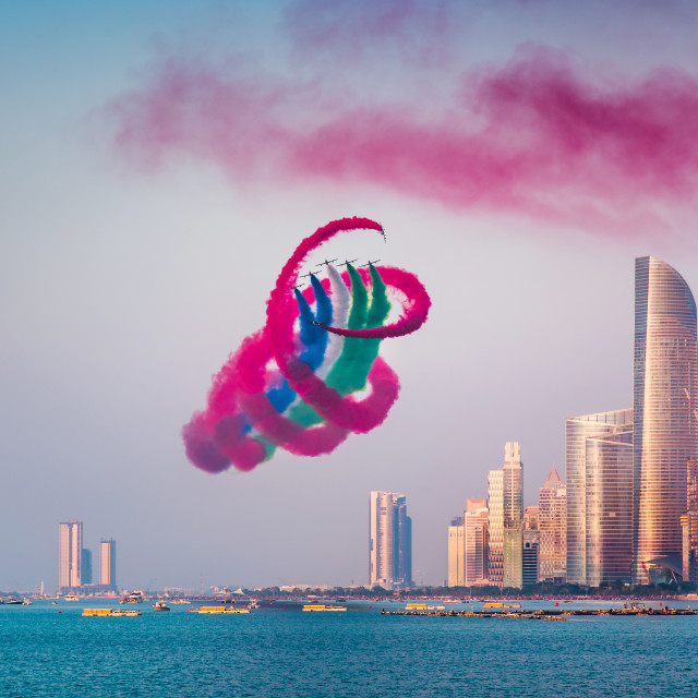"""Air show over Abu Dhabi skyline for the UAE national day celebra"" stock image"