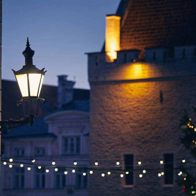 """Christmas decoration in old town"" stock image"