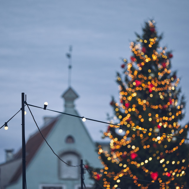 """Christmas decoration in old city"" stock image"
