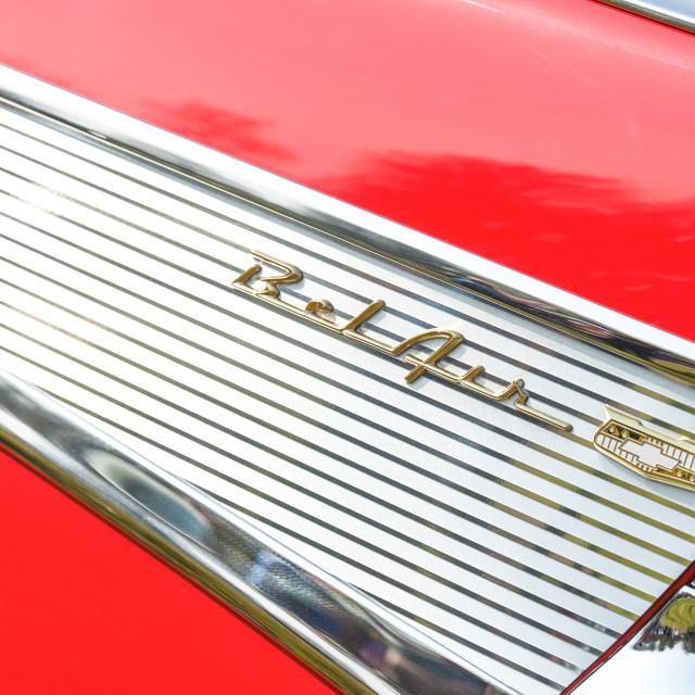 """Chevrolet Bel Air vehicle badge"" stock image"