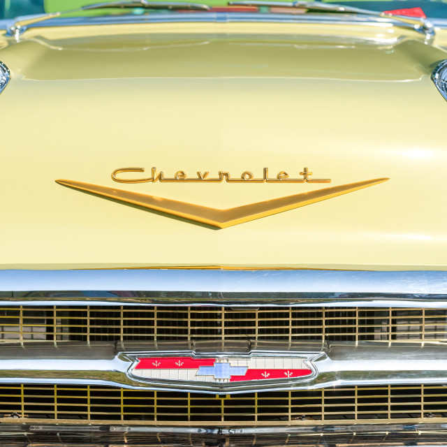 """""""Vintage American Chevrolet grille closeup"""" stock image"""