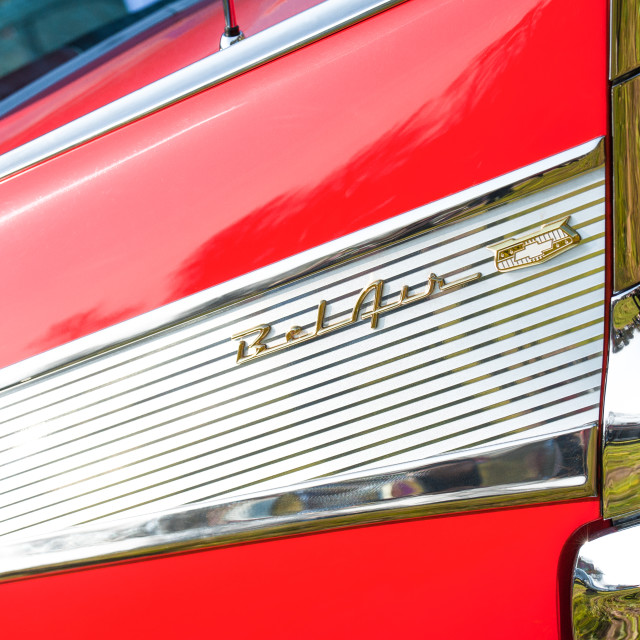 """""""Chevy Bel Air vehicle badge"""" stock image"""