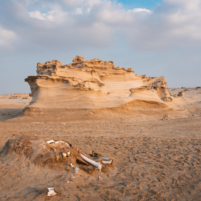 """""""Fossil dunes landscape of formations of wind-swept sand in Abu D"""" stock image"""