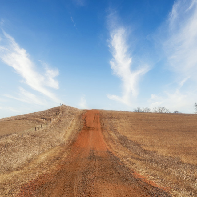 """""""A red dirt road going uphill dividing fenced pasture land in a brown springgtime landscape in South Dakota USA"""" stock image"""