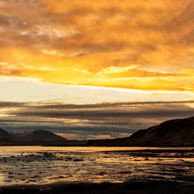"""Mountains and ocean near Hvitserkur in Iceland at sunrise"" stock image"