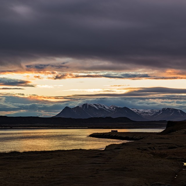 """""""Mountains and ocean at sunrise in Vatnsnes peninsula, Iceland"""" stock image"""