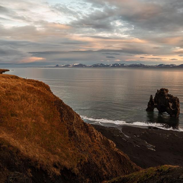 """Hvitserkur in Iceland at sunrise"" stock image"