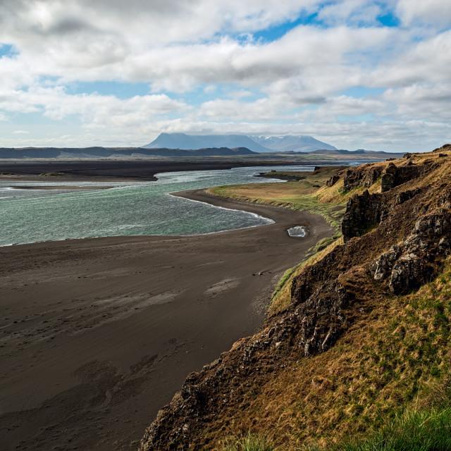 """Mountains and black beach near Hvitserkur in Iceland"" stock image"