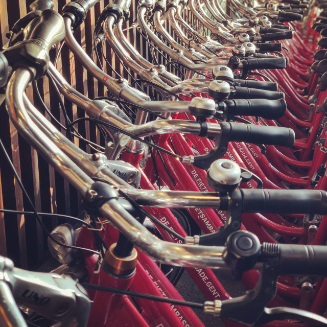 """Many handlebars in Ghent"" stock image"