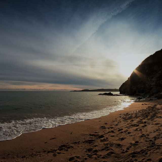 """""""Cliffs In The Sunset"""" stock image"""
