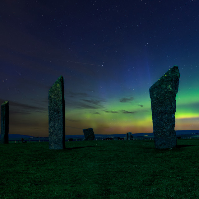 """""""Orkney stone circle with Northern Lights"""" stock image"""