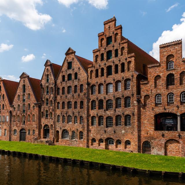 """Salzspeicher old brick buildings in Lubeck, Germany"" stock image"