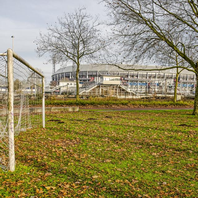 """Football goal and stadium Feyenoord"" stock image"