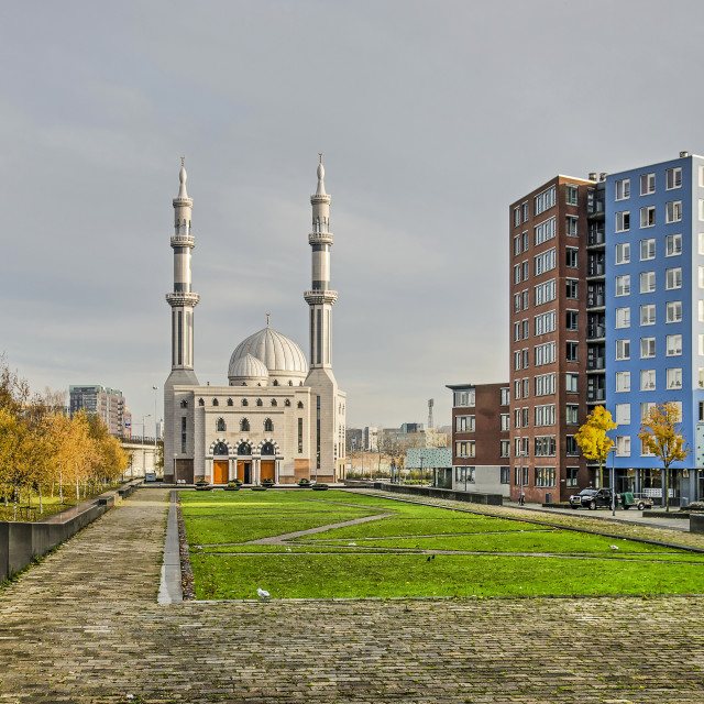 """""""Rotterdam mosque and residential buildings"""" stock image"""