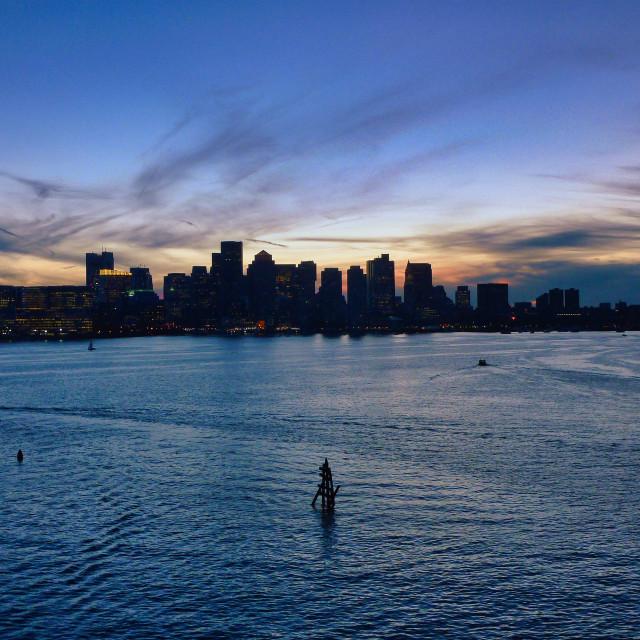 """Boston Harbor at sunset"" stock image"
