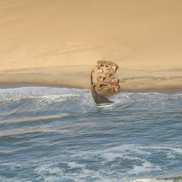 """Shipwreck at the Skeleton coast"" stock image"