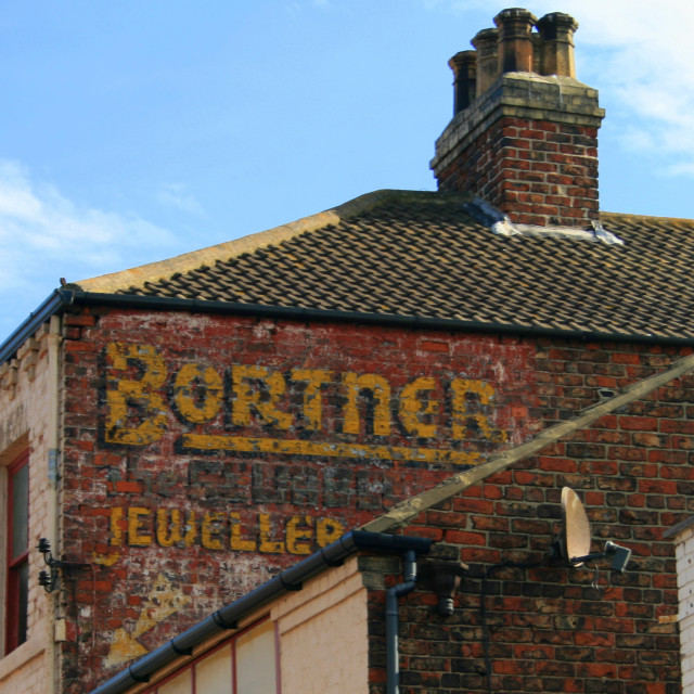 """""""Bortner of Redcar Ghostsign. Now painted over"""" stock image"""
