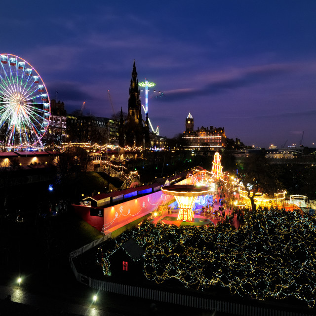 """Edinburgh Christmas Market at Princes Street Gardens"" stock image"