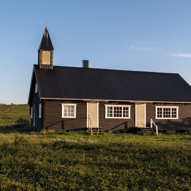 """Áisaroaivi chapel late summer"" stock image"