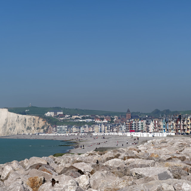 """""""Mers-les-Bains seaside town in Picardy coast"""" stock image"""